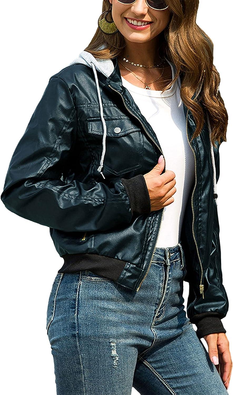 HangNiFang Leather Jacket Women Hooded Fleece Lined Bomber Faux Leather Overcoat