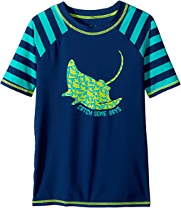 Friendly Manta Rays Short Sleeve Rashguard (Toddler/Little Kids/Big Kids)