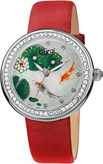 Burgi BUR188 Crystal Studded Women's Watch – Hand Painted Koi Fish On Mother of Pearl Dial with Crystal Accented Bezel Markers – Satin Covered Leather Strap