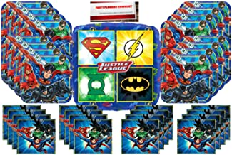 Justice-League DC Comics Superheros Birthday Party Supplies Bundle Pack for 16 Plus a 17 Inch Balloon