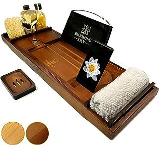 Blooming Lily - Bandeja de baño con Soporte para Copa de Vino, iPad, móvil y más