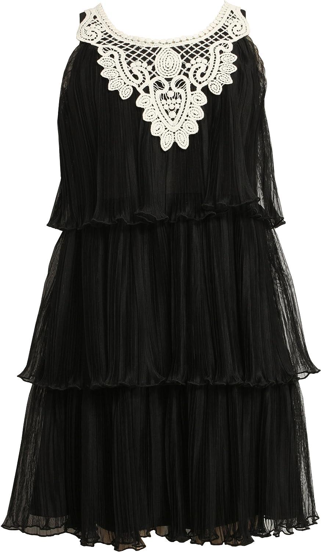 Bonnie Jean Big Girls' Sleeveless Tiered Dress With Pleat