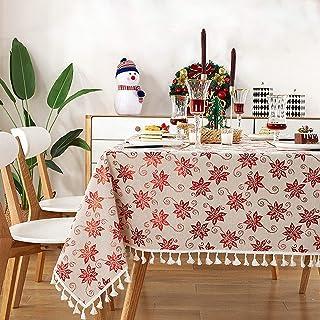 YUANYOU Tovaglia rettangolare in cotone e lino, con nappe rosse color bronzo, tovaglia per feste, soggiorno, feste, Natale