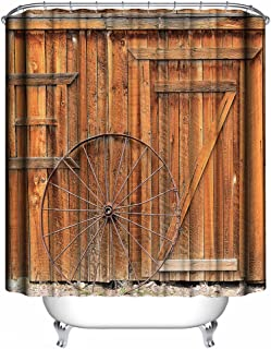 Dimaka Natural Shower Curtain,Bathroom Decoration Farmhouse Design Decor, Water Resistant Fabric Rustic Shower Curtain[Retro Country], Home Textile (71