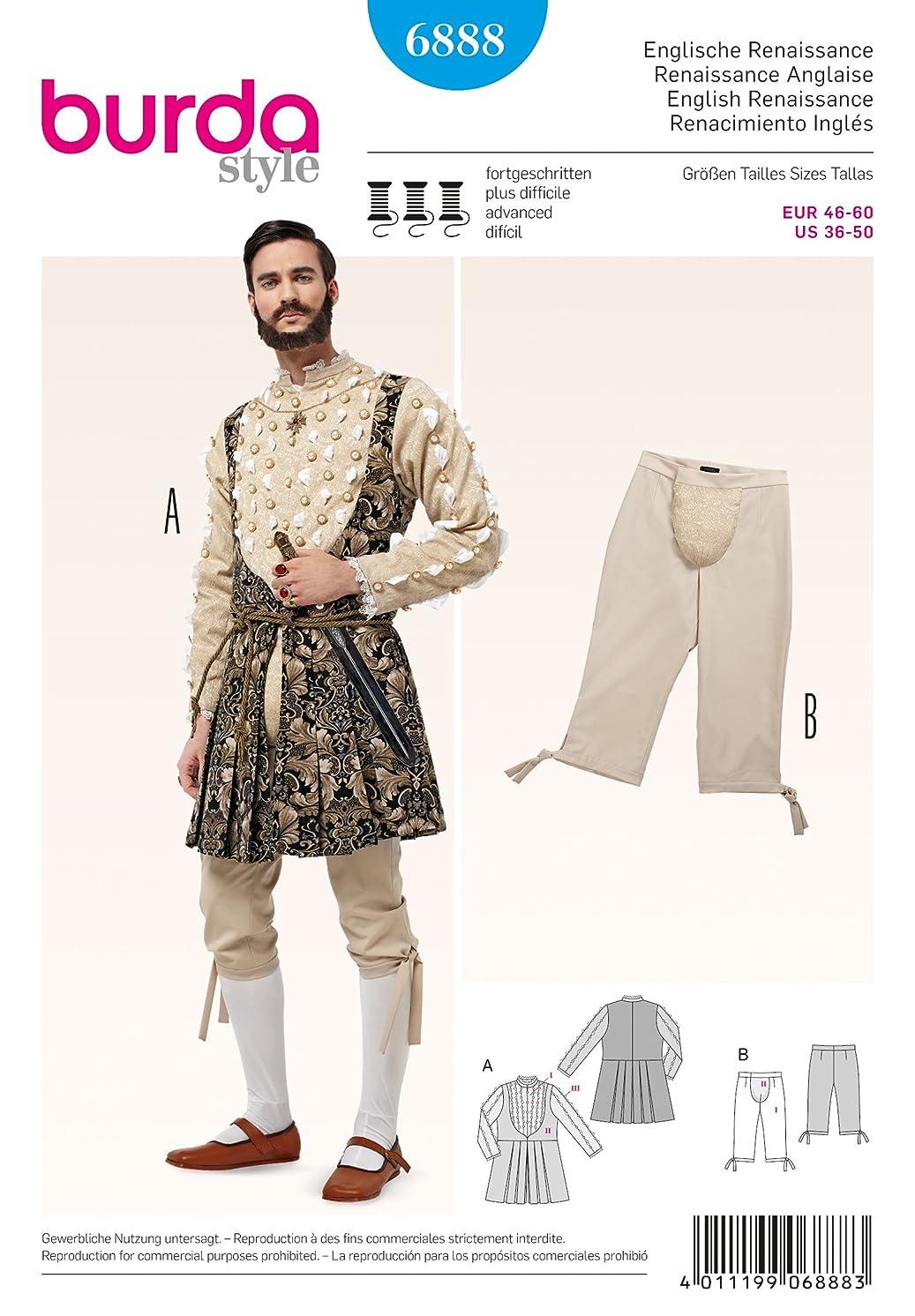 6888 Burda Mens English Renaissance Costume Sewing Pattern Sizes 36-50