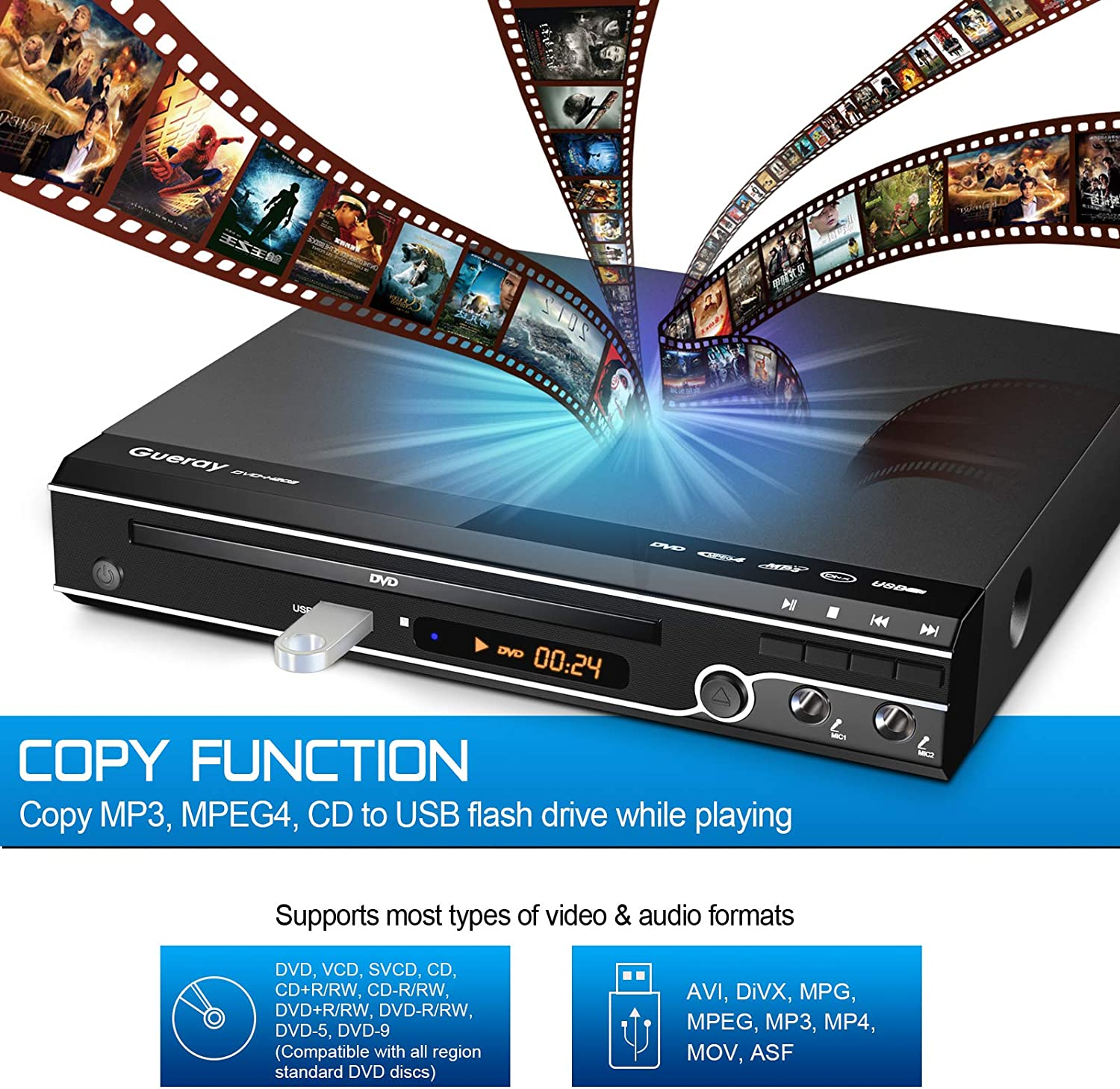 Gueray Compact DVD Player Multi-Region No Code with USB Input HDMI  Compatible AV Dual Mic Port and Remote Control and CD Ripping Function for  TV Connection: Amazon.de: Electronics & Photo