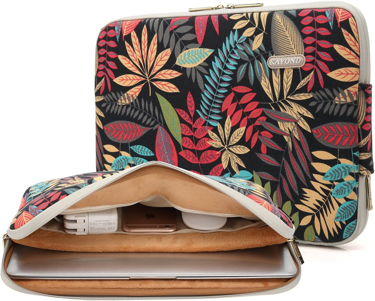 KAYOND Canvas Water-Resistant for 11-11.6 Inch Laptop Sleeve Case Bag (11-11.6 Inches, Forest Series Black)