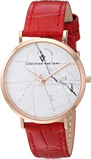 Christian Van Sant Women's Lotus Stainless Steel Quartz Leather Calfskin Strap, red, 15.4 Casual Watch (Model: CV0422)