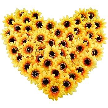 "CEWOR 150pcs Artificial Silk Sunflower Heads 3"" Fake Faux Flower Heads Yellow Floral for Wedding Centerpieces Decor Home Decoration Garden Wreath Art Craft"