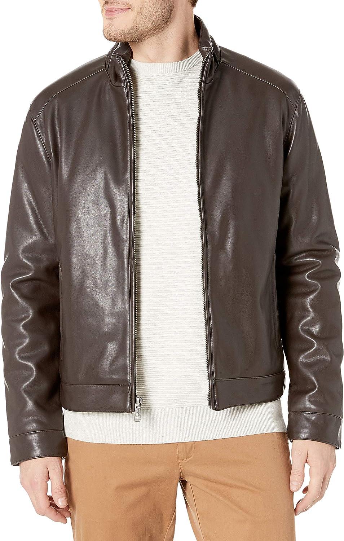 Cole Haan Signature Men's Zip Front Faux Leather Moto Jacket