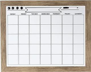 DesignOvation Beatrice Framed Magnetic Dry Erase Monthly Calendar, 23x29, Rustic Brown