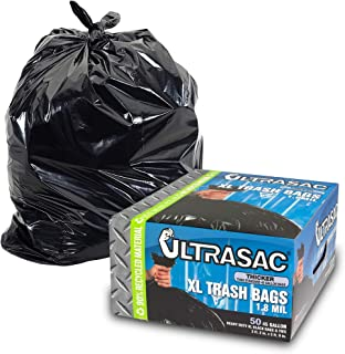 Heavy Duty 45 Gallon Trash Bags by Ultrasac - (Huge 50 Count/w Ties) - 1.8 MIL - 38
