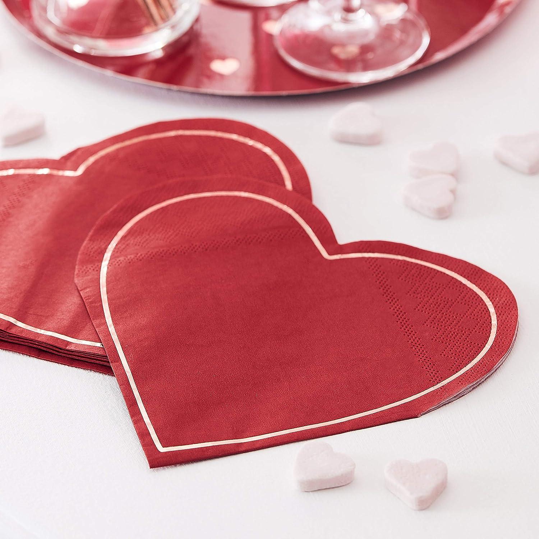 Ginger Ray Lot de 16 serviettes en papier en forme de c/œur Rouge