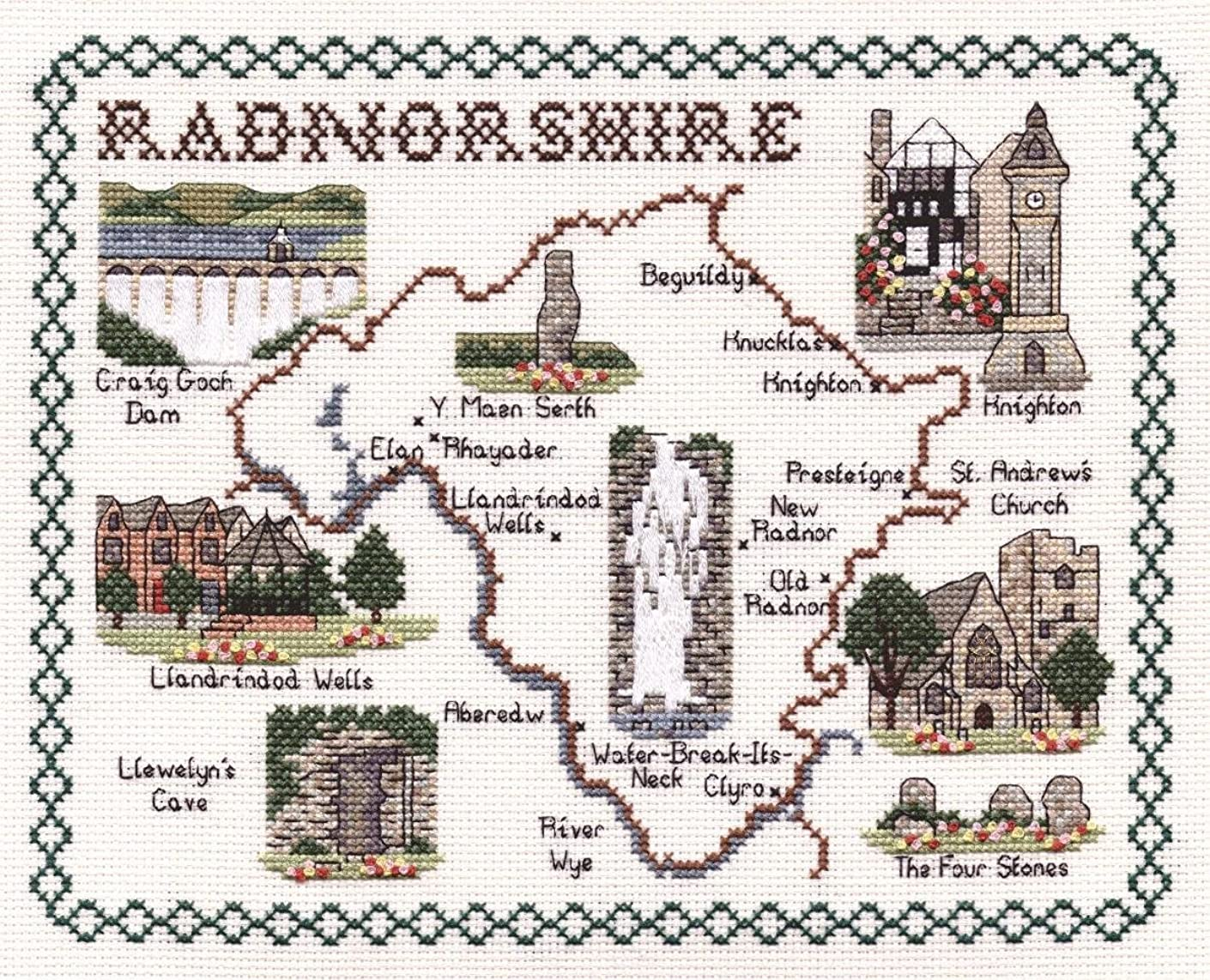Classic Embroidery Radnorshire 14 Count aida Cross Stitch map, Mixed, Multi-Colour, 20 x 25 x 1 cm