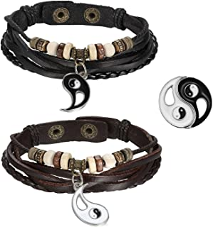 2pcs Mens Womens Adjustable Vintage Leather Braided Yin Yang Pendant Beads Charm Link Bracelet for Couples,Black Brown