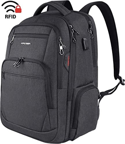 KROSER Travel Laptop Backpack 17.3 Inch Large Computer Backpack Water-Repellent School Daypack with USB Charging Port & Headphone Interface RFID Pockets for Work/Business/College/Men/Women product image