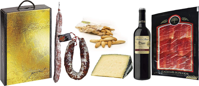 Cesta Navidad con Jamón Serrano, Fuet Casero, Chorizo Salamanca, Queso Semicurado, Vino Tinto y Picos de Pan.