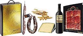 comprar comparacion Cesta Navidad con Jamón Serrano, Fuet Casero, Chorizo Salamanca, Queso Semicurado, Vino Tinto y Picos de Pan.