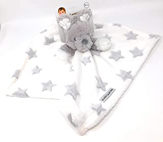 Blankets & Beyond Gray/White Bear Plus Grey Stars Security Blanket