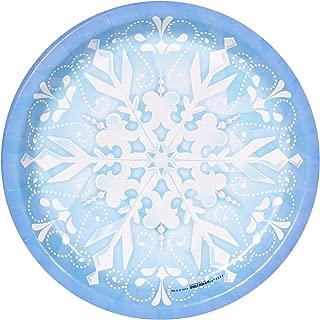 BirthdayExpress Snowflake Winter Wonderland Christmas Party Supplies - Dinner Plates (8)