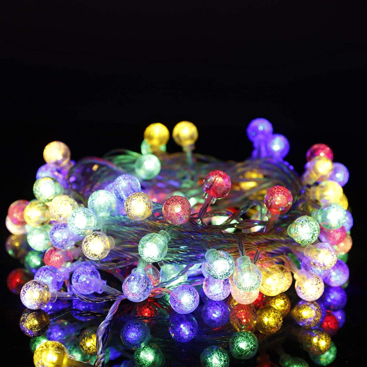 kemooie Globe Fairy Lights, 33Ft 100 Led Connectable Plug in String Lights, 8 Twinkle Modes Waterproof Indoor Outdoor Decorative Lights for Bedroom Patio Garden Christmas Party Wedding ( Multicolor )