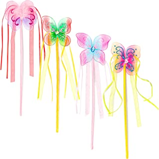 Blue Panda Princess Fairy Butterfly Wands, Ballerina Birthday Party Favors (12 Pack)
