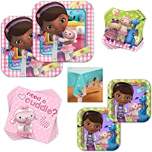 Doc McStuffins Dinnerware Bundle - Serves 16 Guests - Birthday Party Kit Includes Paper Plates, Napkins, Table Cover