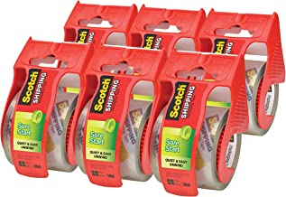 Scotch Sure Start Packaging Tape, 2 Inches x 22.2 Yards, 2-Inch Core, Clear, 6/Pack, (145-6)