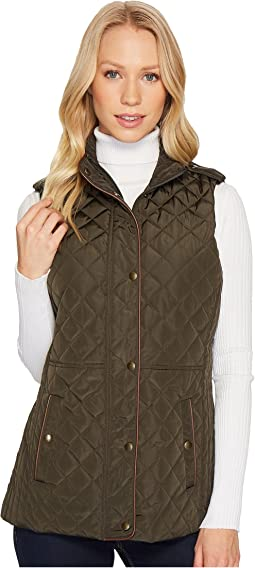 Faux Leather Trim Military Vest