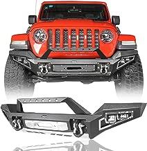 Hooke Road Discover Full Width Front Bumper w/Winch Plate & 4X 18W LED Spotlights for 2018-2020 Jeep JL Wrangler & Unlimited