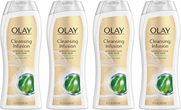 Body Wash for Women by Olay, Cleansing Infusion Hydrating Body Wash with Deep Sea Kelp, 22.0 Fluid Ounce (Pack of 4)