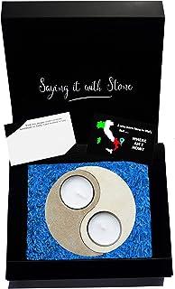 Tao Dao Yin Yang Fatto a Mano in Pietra Leccese - Portacandele Separabile Made in Italy - Con Frammenti Fossili - Simbolo ...