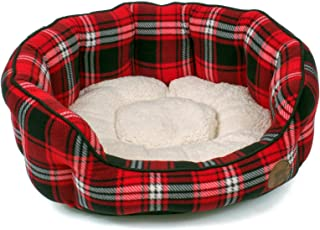Petface Red Tartan Check Oval Bed, Small