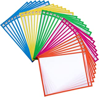 Dry Erase Pockets Rusable Dry Erase Sleeves 30 Pack Eraseble Pocket Sleeve Protect Clear Pocket with Hole Hanger and Colorful Edge(5colors)