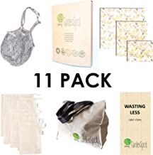 Reusable Grocery Set Produce Mesh Bags Beeswax Food Storage Wraps Shopping Tote and Net Big Bag, 100 Organic Cotton, Sustainable ZeroWaste Products, GardenSpot