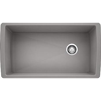 "BLANCO, Metallic Gray 441770 DIAMOND SILGRANIT Super Single Undermount Kitchen Sink, 33.5"" X 18.5"""