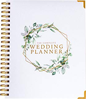$24 » [New] Wedding Planner - Green Floral - Undated Bridal Planning Diary Organizer - Hard Cover, Pockets & Online Support