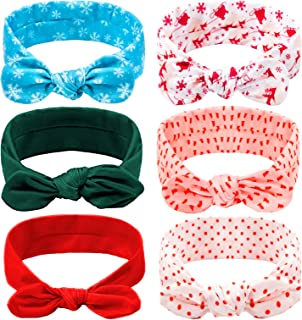 Whaline 6pcs Christmas Baby Headband Xmas Elastic Hairbands with Bow Toddler Head Turban Wraps Toddlers Hair Accessories F...
