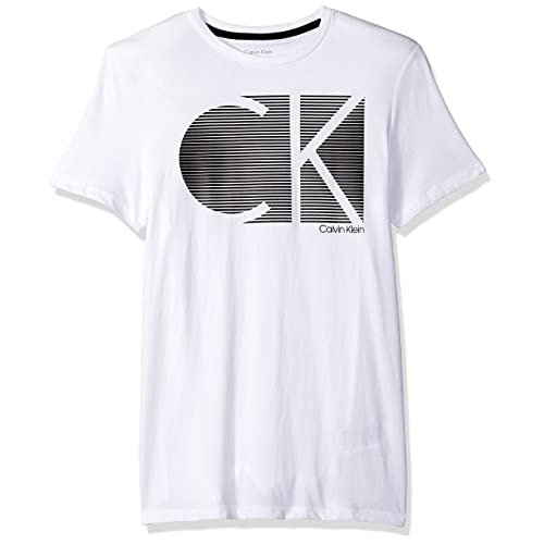 db79f40de682 Calvin Klein Men's Box Stripe Logo Crew Neck T-Shirt