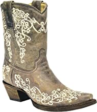 Corral Women's Crater Embroidery Short Cowboy Boot Snip Toe Brown