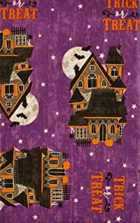 Halloween Trick or Treat Haunted Mansions Vinyl Flannel Back Tablecloth (60