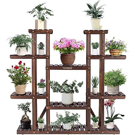 "VIVOSUN Wood Plant Stand Indoor Outdoor 9 Tier Wooden Plant Shelf 17 Potted Flower Shelf Plant Rack Holder 44.5"" High for Patio Garden Balcony Office"