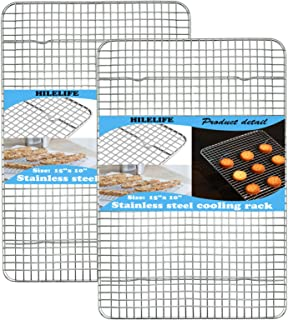 HILELIFE Stainless Steel Cooling Rack - 2 Pcs Baking Rack, 15 x 10 inches Cookie Rack Cooling, Baking Racks Cooling, Narro...
