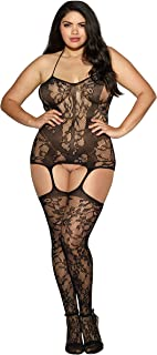 Dreamgirl Women's Plus Size Queen Sizetrinidad Halter Garter Dress with Attached Stockings