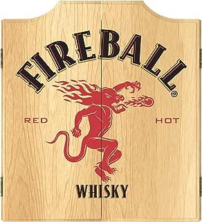 Trademark Global Dart Board Cabinet Set- Fireball Dartboard Game Includes 6 Steel Tip Darts, Scoreboard & Hanging Wood Cupboard