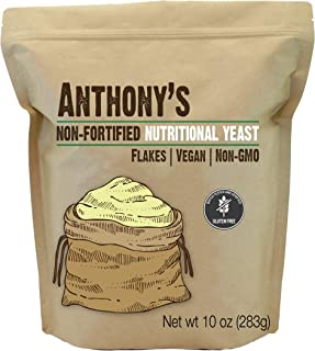 Anthony's Premium Nutritional Yeast Flakes, 10oz, Non Fortified, Batch Tested Gluten Free, Non GMO