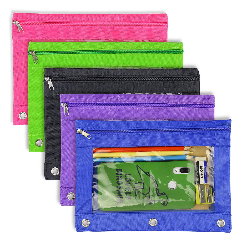 Lápiz bolsa 3 anillo-5 Pack carpeta con cremallera de lápiz estuche bolsa transparente organizador de alta capacidad con ventana de color y plástico brillante por YOUSHARES: Amazon.es: Oficina y papelería