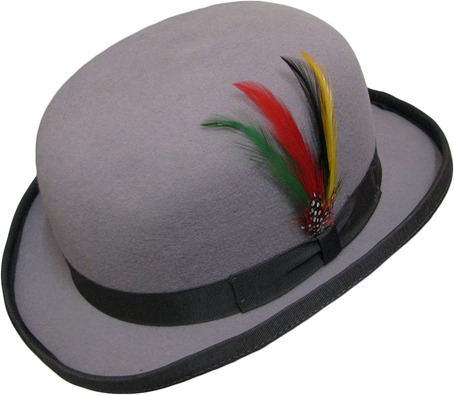 Grey 100/% Wool Bowler Hat High Quality with Removable Feather Satin Lined