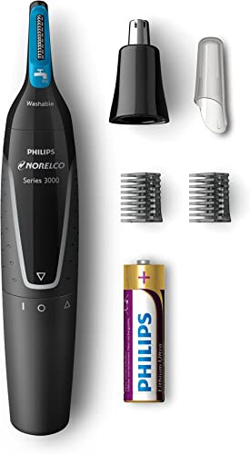 Philips Norelco Nose trimmer 3000, NT3000/49, with 6 pieces for nose, ears and eyebrows