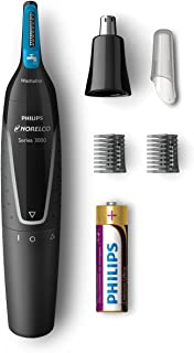 Philips Norelco Nose Hair Trimmer 3000, NT3000/49, Precision Groomer with 6 pieces for Nose, Ears and Eyebrows